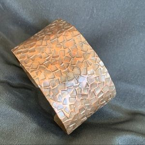 Brutalist Wide Stamped Copper Wide Cuff Bracelet